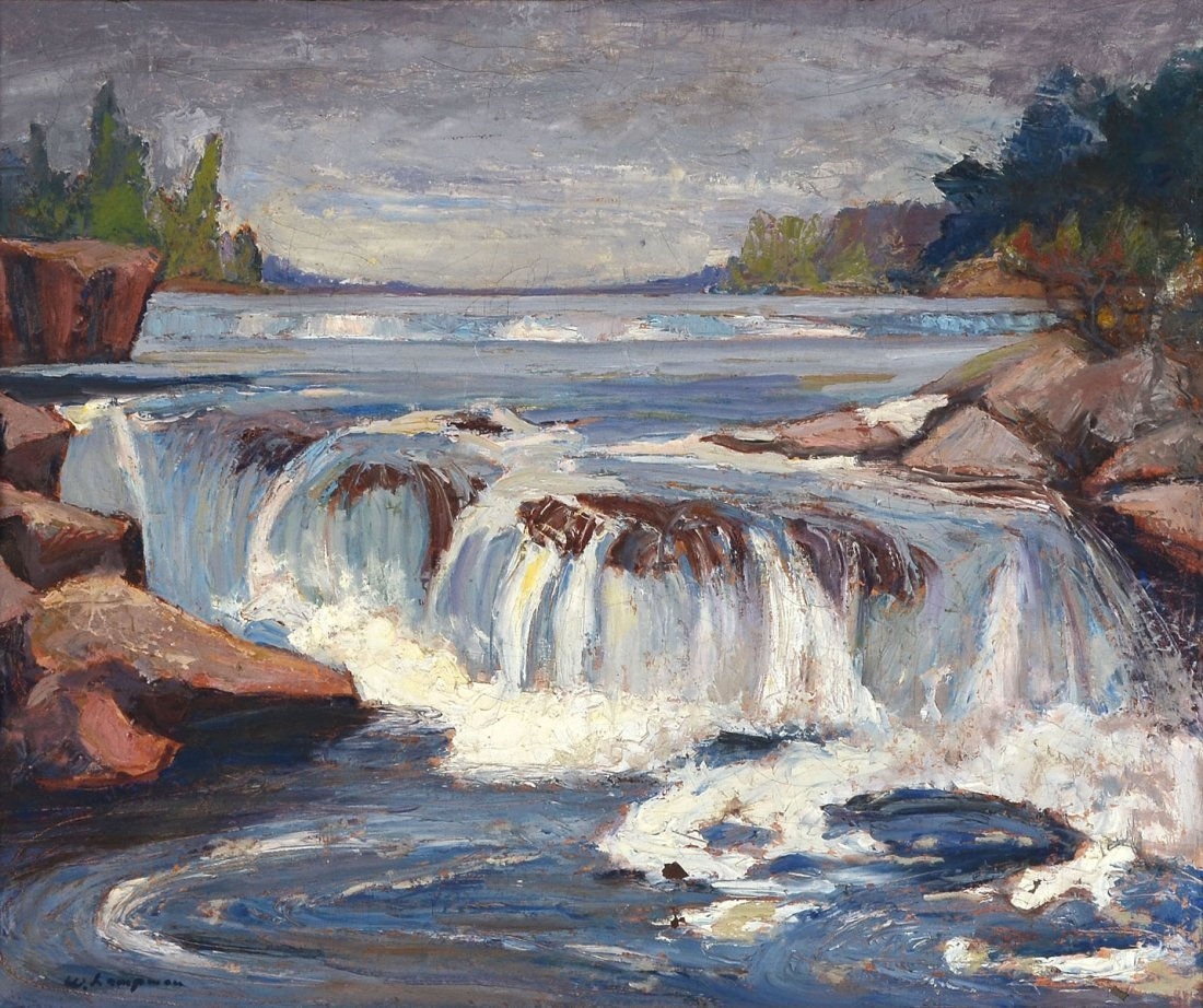 IMPRESSIONIST PAINTING OF RAPIDS SIGNED W. LAMPAN