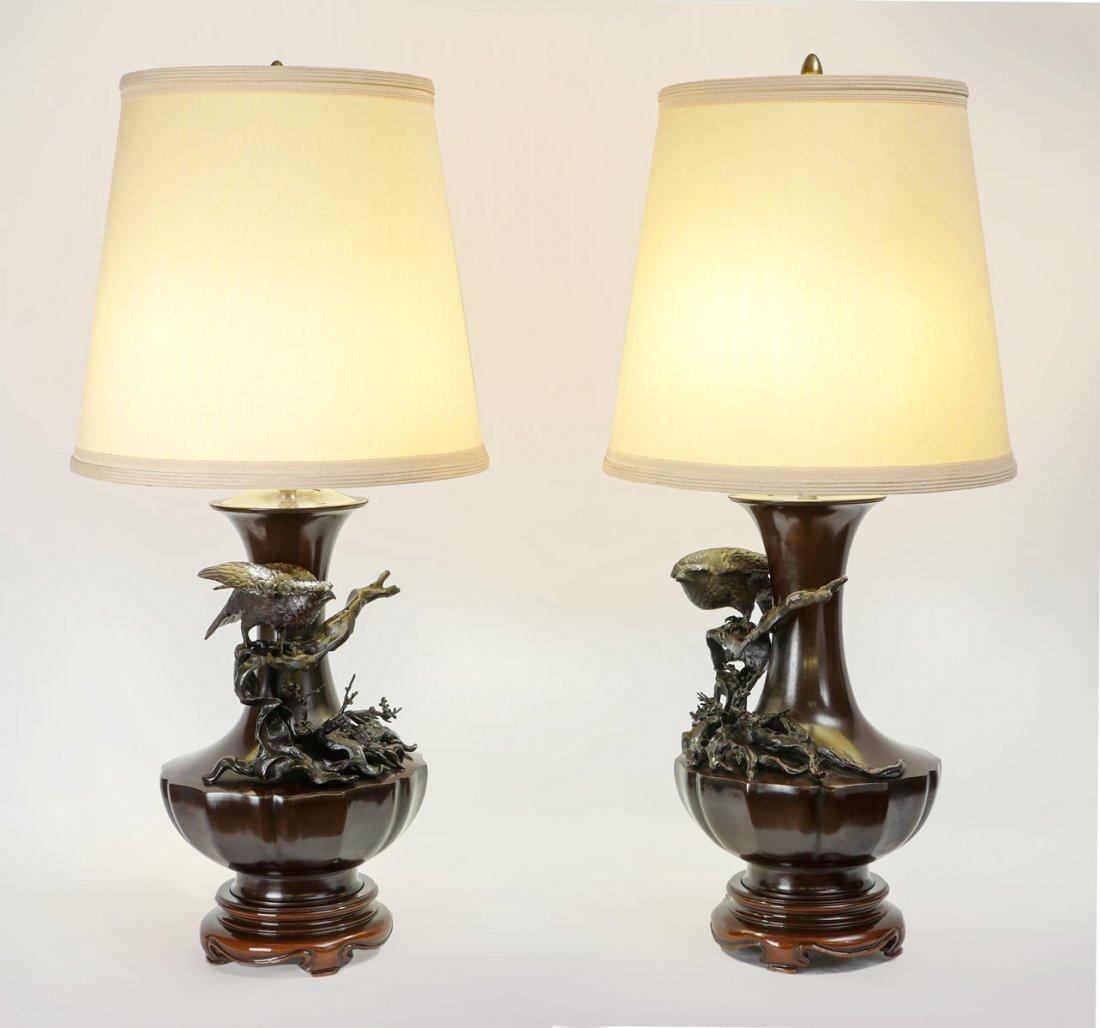 PAIR JAPANESE BRONZE FIGURAL LAMPS