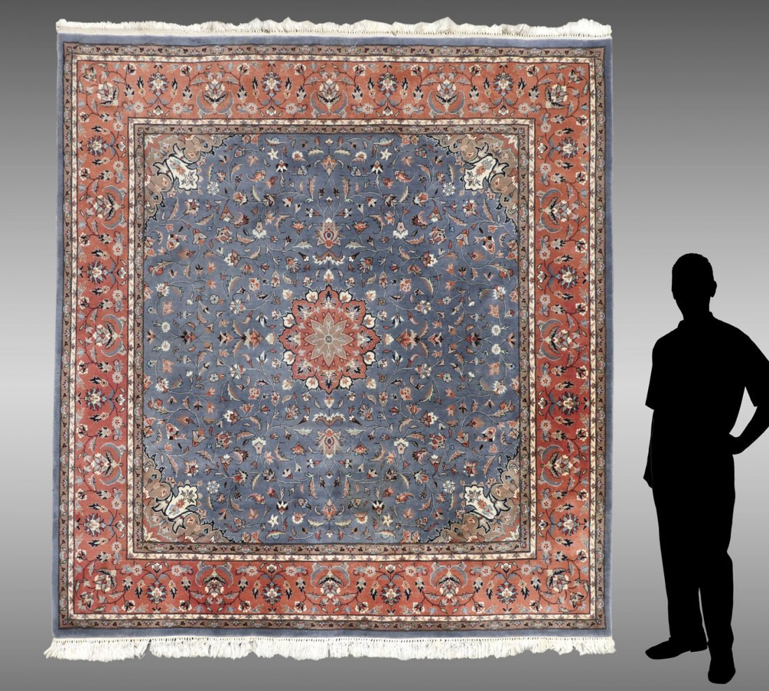 INDO PERSIAN HAND KNOTTED WOOL RUG, 8