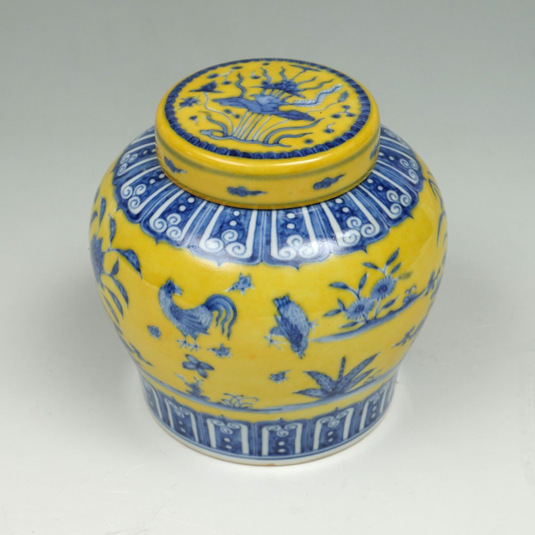 IMPERIAL YELLOW GROUND COVERED JAR