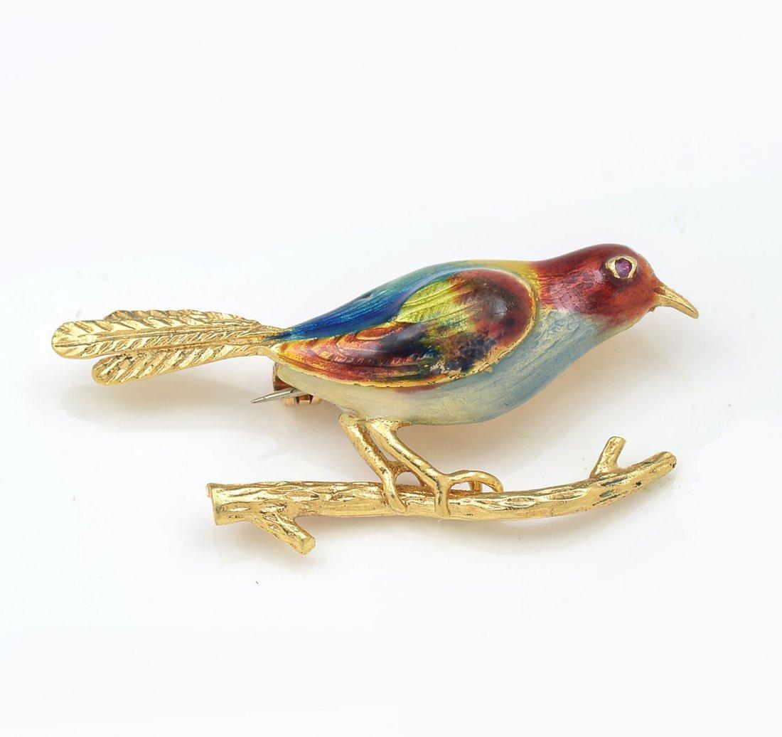 18K ENAMEL BIRD PIN