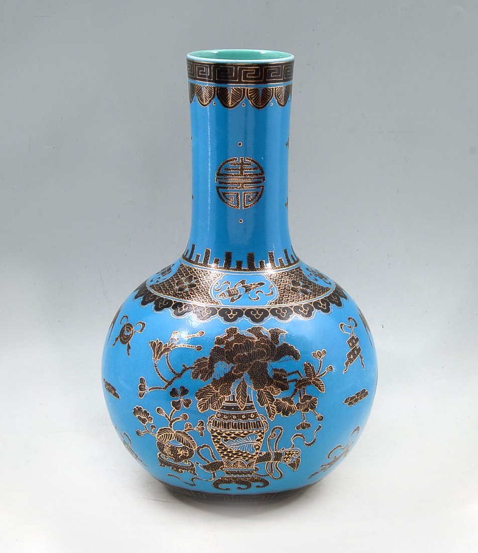AUSPICIOUS CHINESE BLUE GROUND BOTTLE VASE