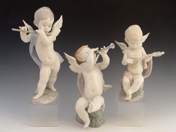 603: 3 LLADRO ANGELS FLUTE CLARINET LUTE RETIRED 20 YRS