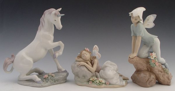 612: 3 LLADRO ENCHANTED FOREST UNICORN ELVES FAIRIES