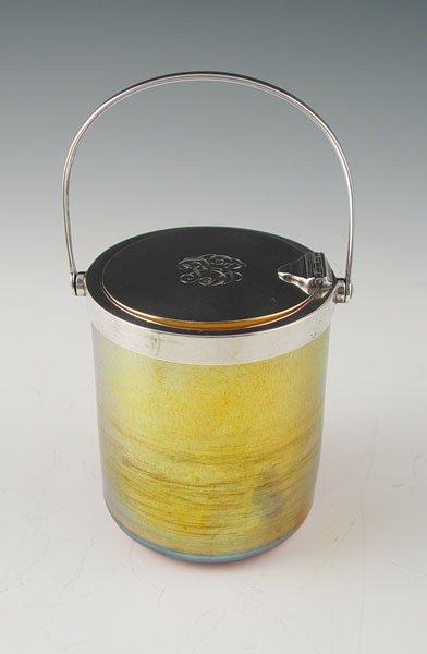 1: TIFFANY & CO. STERLING MECHANICAL FAVRILE GLASS JAR