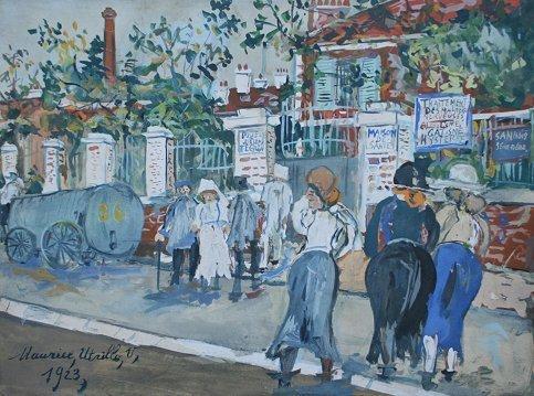 30: INSANE ASYLUM PAINTING SIGNED UTRILLO 1923