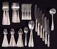 181: 40 pc S. KIRK & SON REPOUSSE STERLING FLATWARE