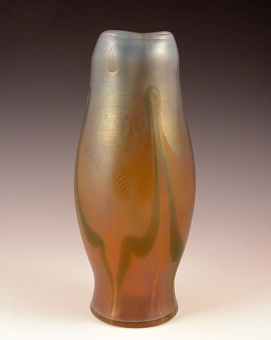101: BUCHNEAU BOHEMIAN IRIDESCENT ART GLASS VASE