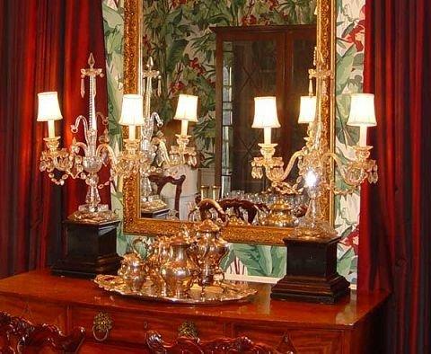 13: PAIR CUT  CRYSTAL CANDELABRA  LAMPS