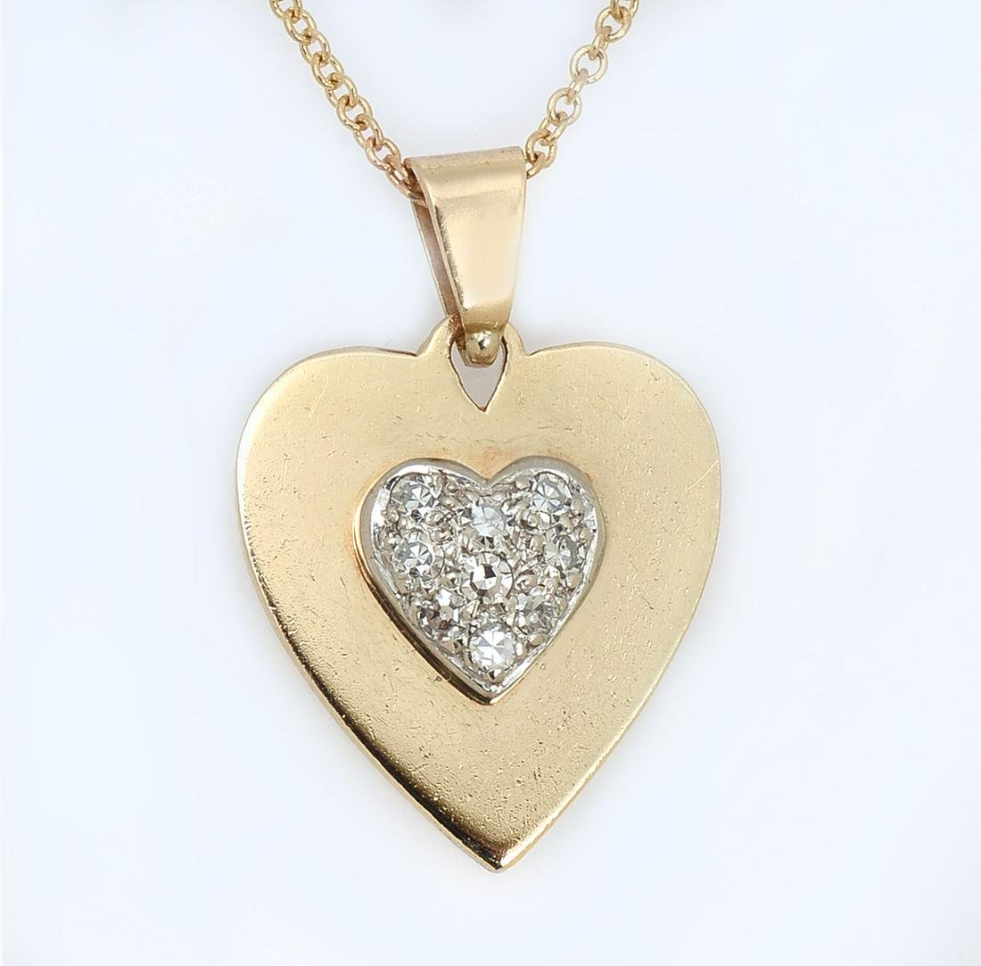 14K DIAMOND HEART DECO PENDANT/NECKLACE