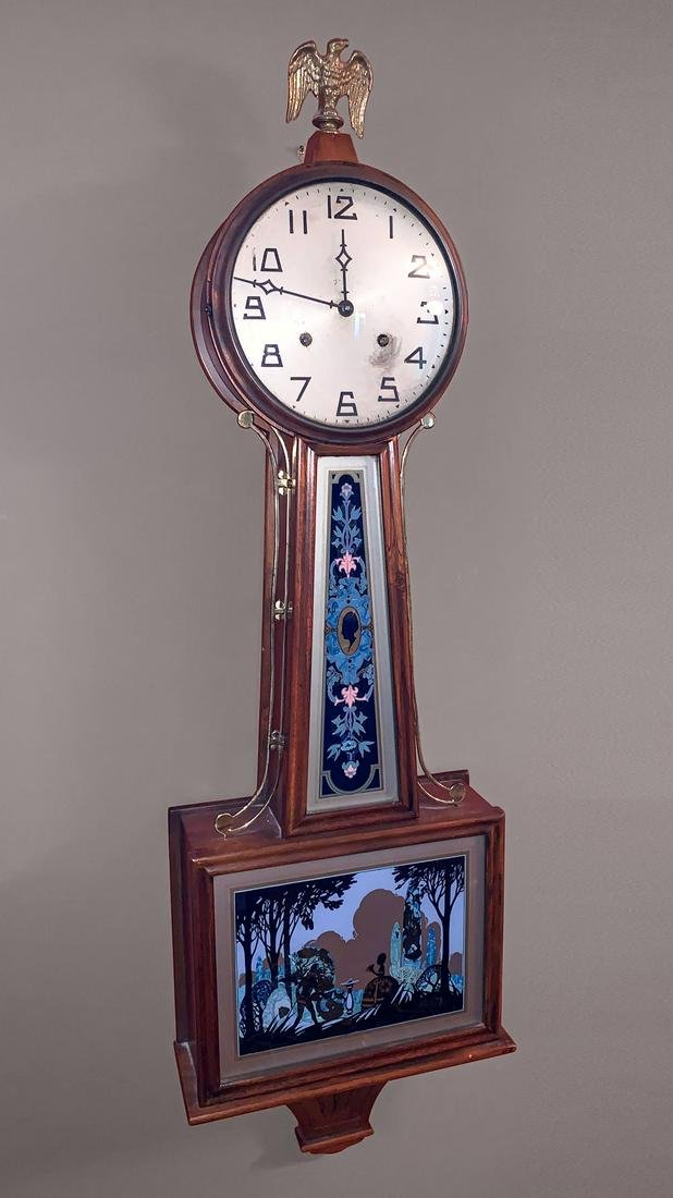 REVERSE PAINTED NEW HAVEN BANJO CLOCK
