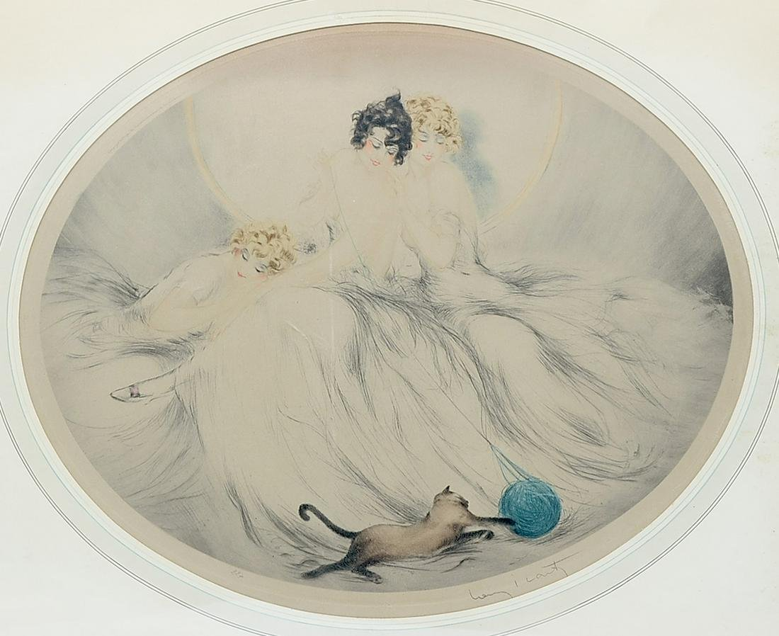 LOUIS ICART ETCHING WITH CAT AND YARN BALL