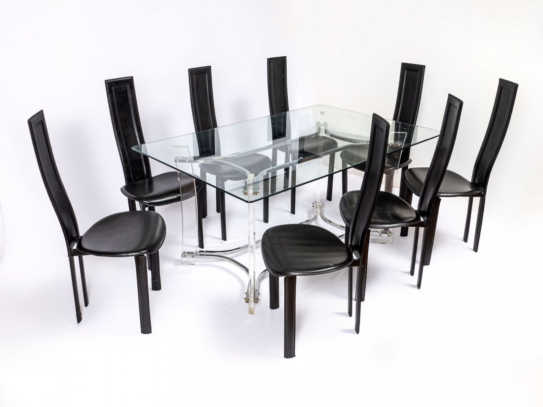 GLASS TOP LUCITE TABLE WITH 8 CHAIRS