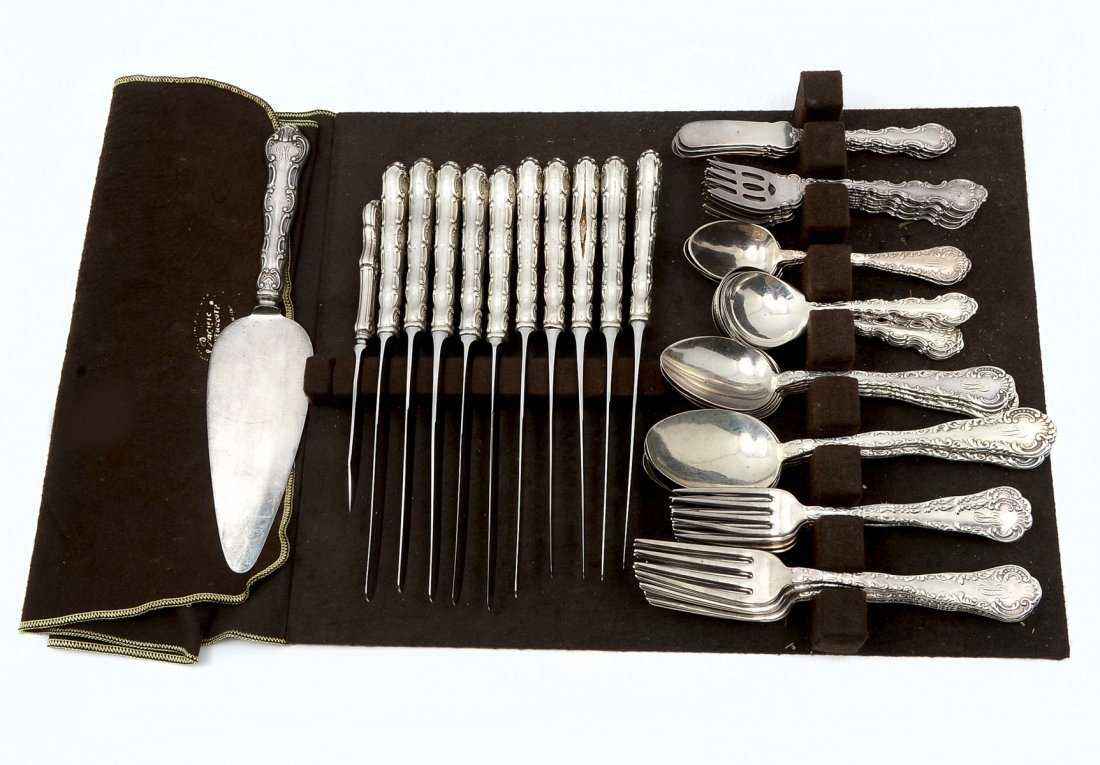69 PC. WOOD & HUGHES AND GORHAM STERLING FLATWARE