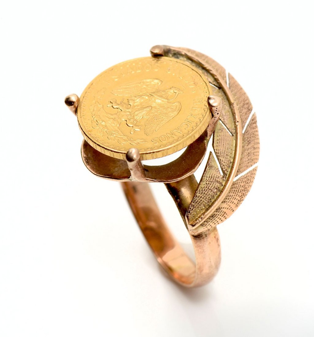 14K MEXICAN DOS PESOS COIN RING