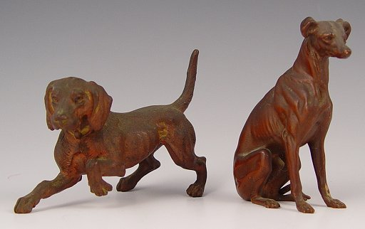 1004: 2 PIECE AUSTRIAN BRONZE GREYHOUND & POINTER