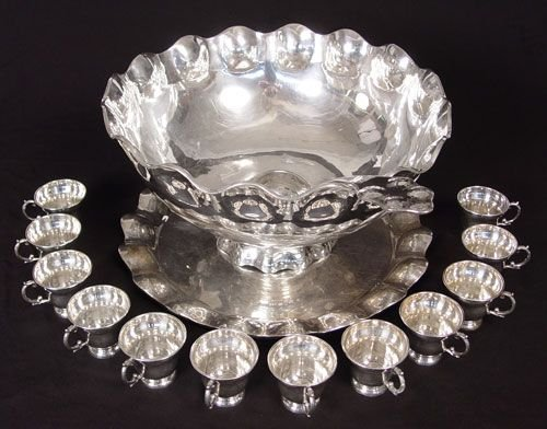 1007: ORTEGA MEXICAN STERLING PUNCH BOWL TRAY CUPS LADL