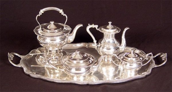 1008: 5 pc  ORTEGA MEXICAN STERLING TEA SERVICE W/TRAY
