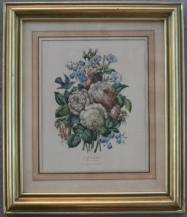 1014: CURRIER & IVES FLOWERS LITHOGRAPH
