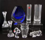 1336 8 PC BACCARAT CRYSTAL  LION SNOOPY VASES COBALT