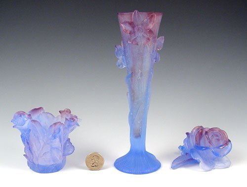 1382: 3 PC DAUM FRENCH PATE DE VERRE CRYSTAL ROSES VASE