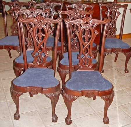 1016A: SET OF 8 CHIPPENDALE CENTENNIAL DINING CHAIRS