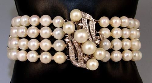 1011B: 4 STRAND PEARL DIAMOND 14k WHITE GOLD