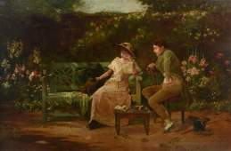FINE MUSEUM QUALITY TRAUTSCHOLD PAINTING COURTSHIP