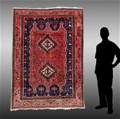SEMI-ANTIQUE PERSIAN SHIRAZ HAND KNOTTED WOOL RUG