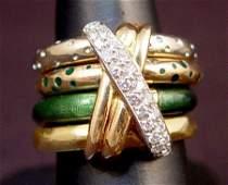 710 LA NOUVELLE BAGUE 18K DIAMOND ENAMEL 4 BAND RING S