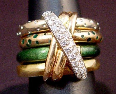 710: LA NOUVELLE BAGUE 18K DIAMOND ENAMEL 4 BAND RING S