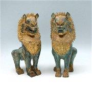 PR GILT BRONZE TIBETAN FOO LIONS