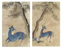 2 EARLY FRAMED CHINESE PAINTINGS OF CHI-LIN