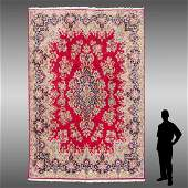 SEMI-ANTIQUE PERSIAN KERMAN HAND KNOTTED WOOL RUG