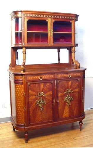 7:  ONE OF 2 FRENCH PARQUETRY INLAY SIDEBOARD CABINETS