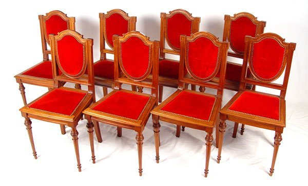 12: SET OF 8 FRENCH DINING SIDE CHAIRS