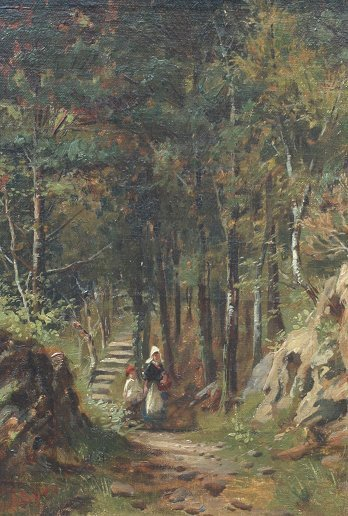 15: JOHN SYER LANDSCAPE WITH FIGURES PAINTING