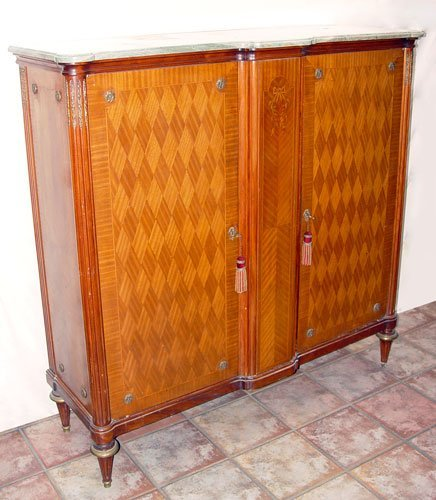 16: FRENCH PARQUETRY MARBLE TOP LINEN OR SWEATER PRESS