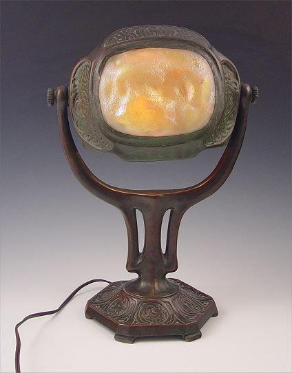 18: TIFFANY FAVRILE GLASS TURTLEBACK TILE DESK LAMP