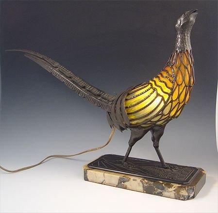19: CA 1925 CHAPELLE NANCY PHEASANT ART GLASS LAMP