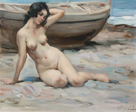 20: CLEMENTE SPANISH NUDE ON BEACH PAINTING