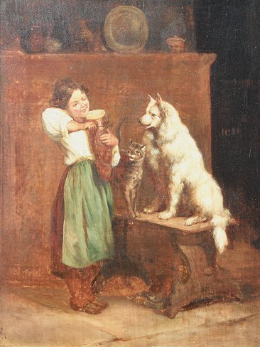 375: EARLY PAINTING OF CHILD WITH PETS