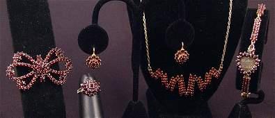 299 5 pc ESTATE GARNET BRACELET EARRINGS RING NECKLACE