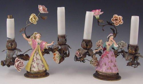 17: PAIR  FRENCH PARIS  PORCELAIN  FIGURAL  LAMPS