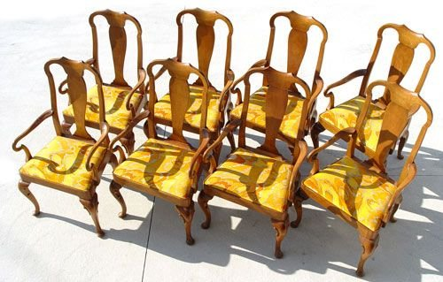 20A: set of 8 BAKER QUEEN ANNE STYLE DINING CHAIRS