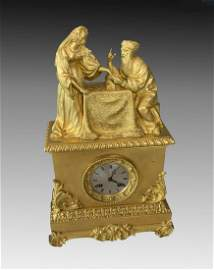 "GILT BRONZE FRENCH CLOCK ""THE FORTUNE TELLER"""