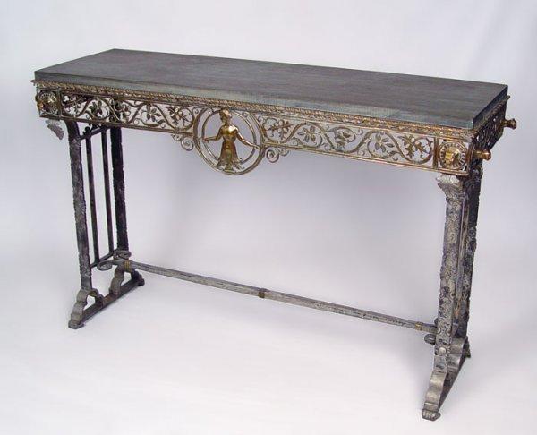1013: OSCAR BACH TABLE W/ BLACK SLATE & NUDE FIGURE