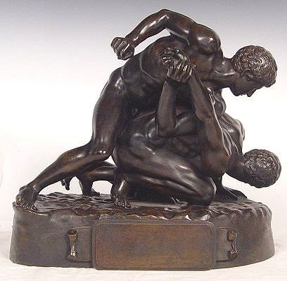 1018: EXCEPTIONAL 19TH C. WRESTLERS BRONZE