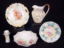 1243: ESTATE LOT 5 PC RS PRUSSIA PITCHER PLATE BOWL