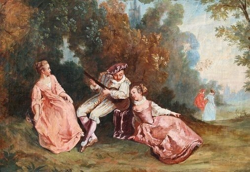 1019: GOOD 19TH C. FRENCH PAINTING MINSTREL SERENADE
